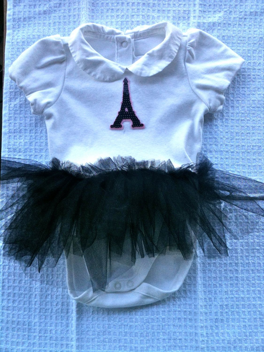 ADORABLE! 6-12 month Eiffel Tower Detailed Baby Onesie with Matching Tutu and Peter Pan Collar