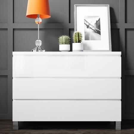 Buy Jenson White High Gloss 3 Chest Of Drawers From Furniture123 The Uk S Leading Online Furnitu In 2020 Bedroom Chest Of Drawers White Chest Of Drawers White Chests