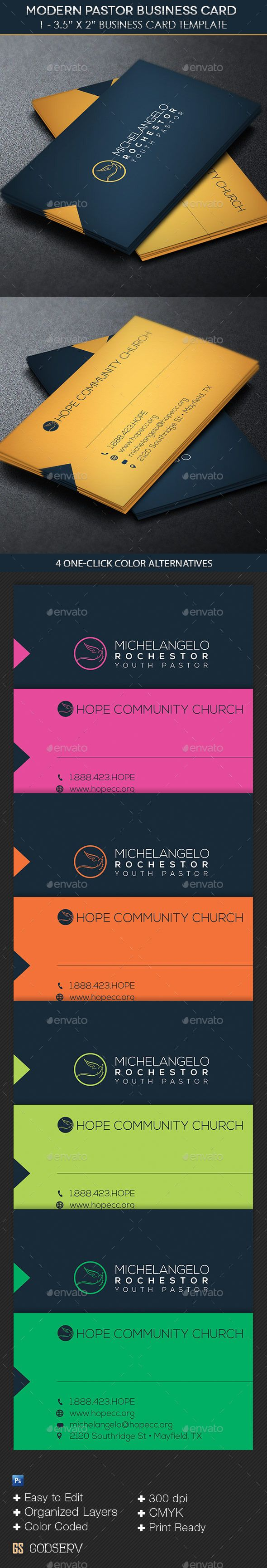 Modern Pastor Business Card Template