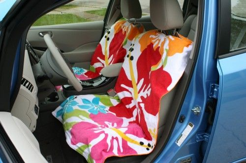 Easily Removable Car Seat Covers Made From Beach Towels