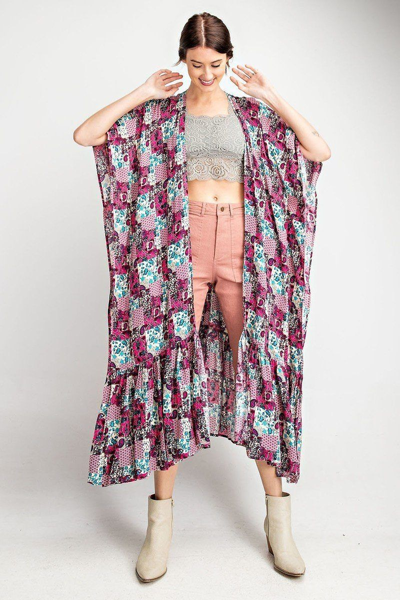 ImportedS.M.L-OPEN FRONT-LONG BODY SILHOUETTE-PAISLEY /FLORAL PRINT-MULTI COLOR-LIGHT WEIGHT-SIDE SLIT100% RayonHot PinkEAS Rayon Challis Ruffle Bottom Maxi Open Kimono split MODEL HEIGHT 5'10Measurements: SIZE SLength:47