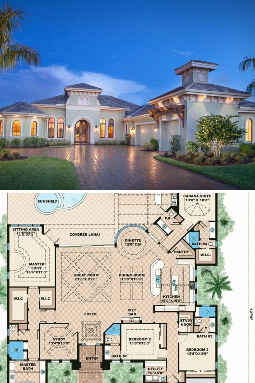 4 Bedroom Home With Red Brick Driveway 3 Car Garage 1 Story Floor Plan Mediterranean Homes Mansion Floor Plan Mediterranean House Plan