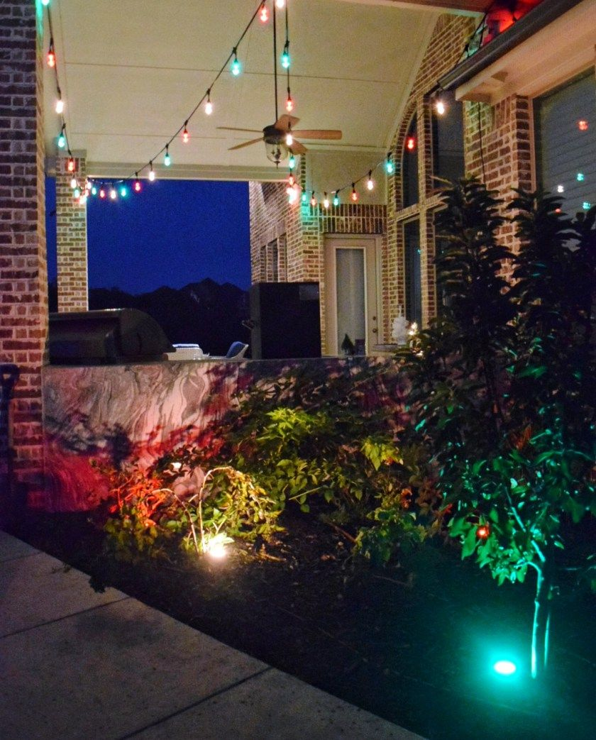 3 Fun Ways To Light Up Your Backyard This Season Enbrighten Color Changing Lights Jasco Cafe Landscape Christmas Outdoor Holiday