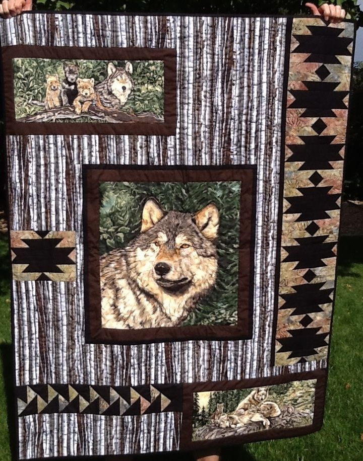 Wolf Song Panel Quilt Great Way To Use A Fabric Panel In