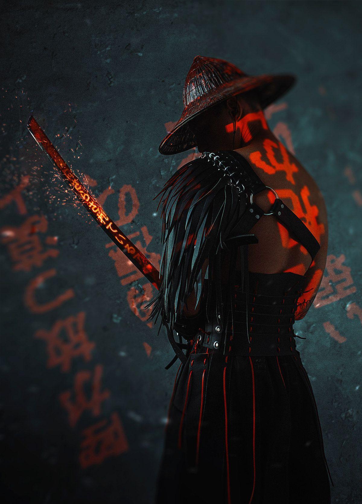 The Blind Ninja Neon Samurai By Dmitry Mel In 2020 Samurai Artwork Samurai Wallpaper Samurai Art