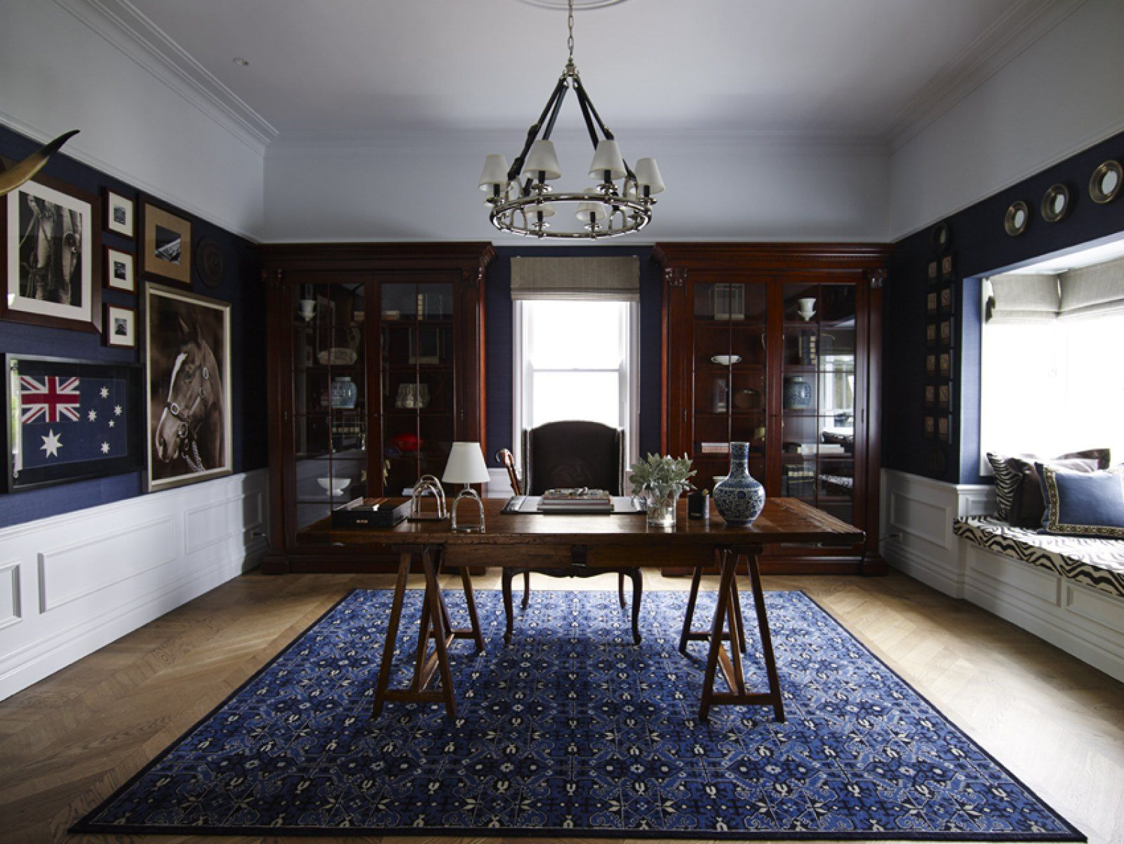 Living room dark navy Ralph Lauren inspired dark stained wood