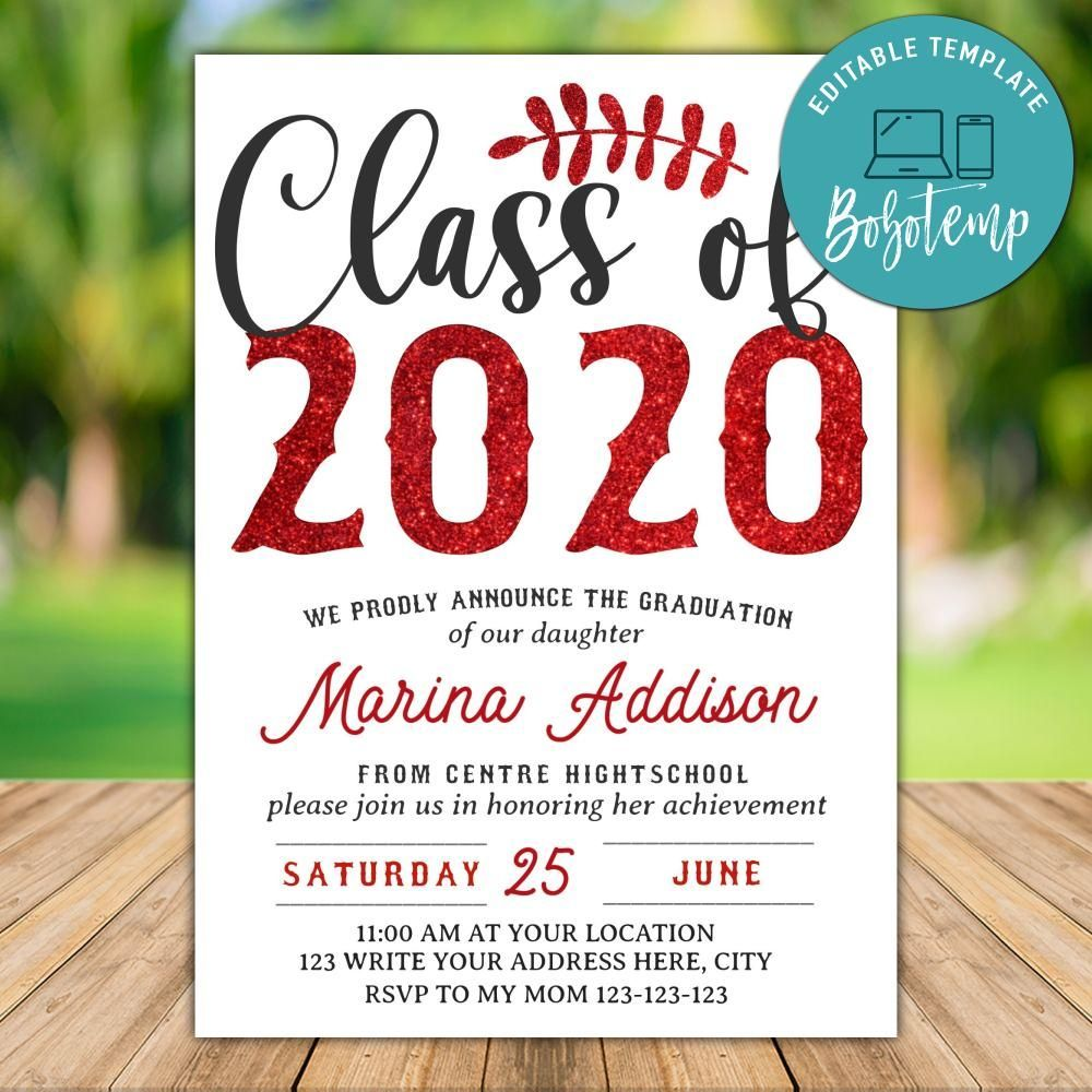 Printable Class Of 2020 Red Graduation Party Invitation Template In 2020 Party Invite Template Graduation Party Invitations Templates Graduation Party Invitations Printable