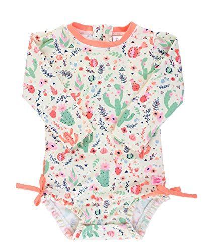 Sun Protection with Zipper RuffleButts Baby//Toddler Girls Long Sleeve Rash Guard 2 Piece Swimsuit Set w//UPF 50