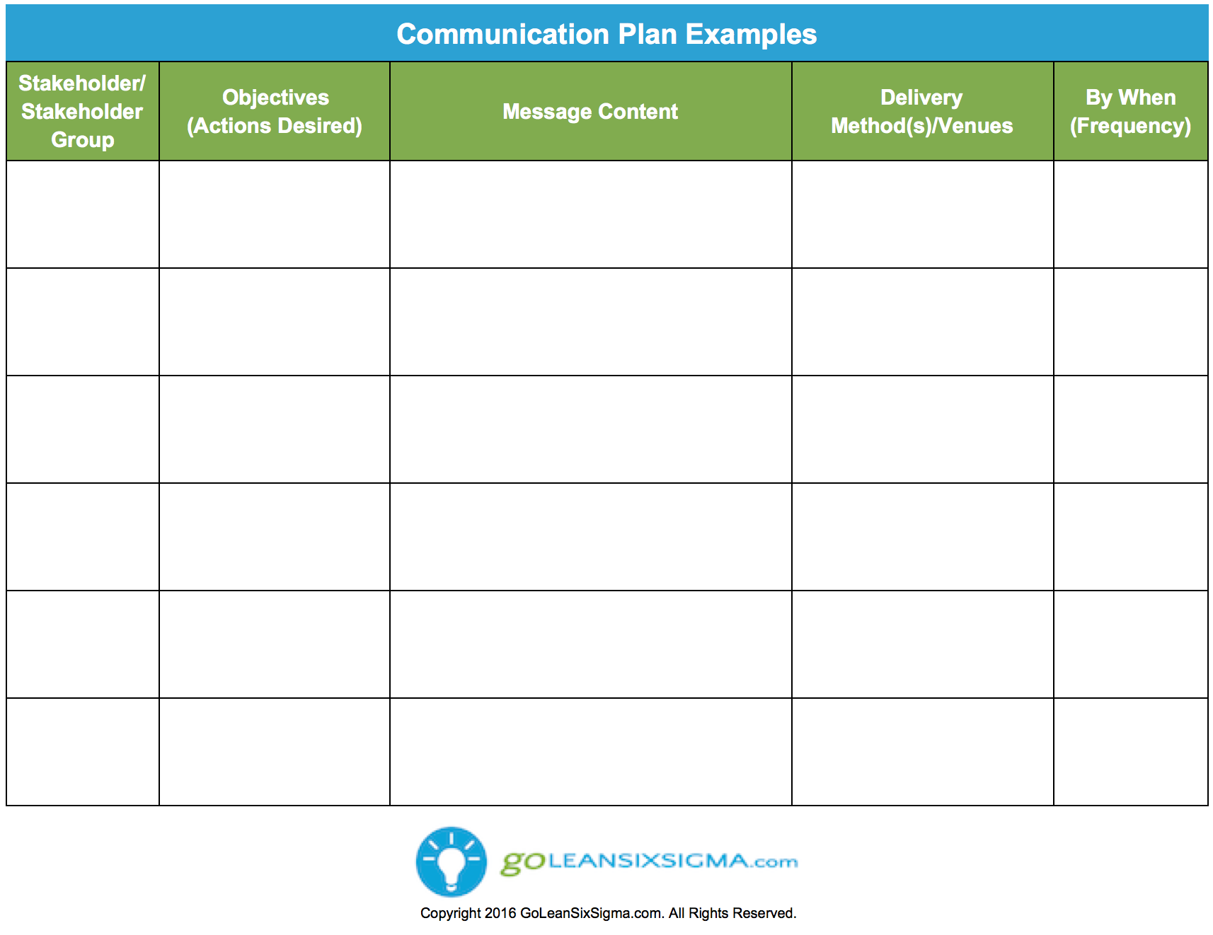 Communication Plan  Template  Example  Work