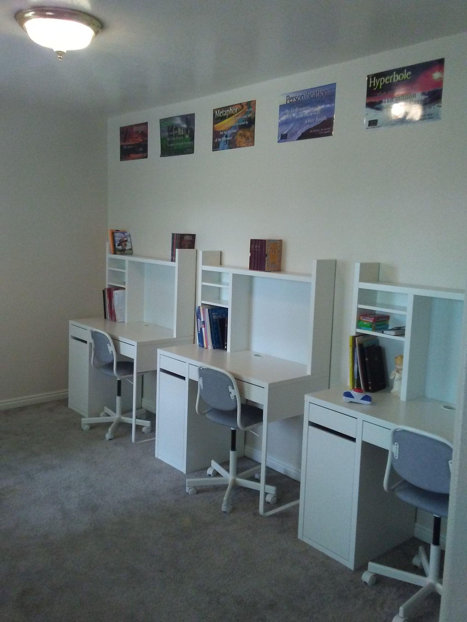 Home School Desk Space Ikea Desks And Chairs Homeschool Room Design Kids Homework Room Preschool Desk