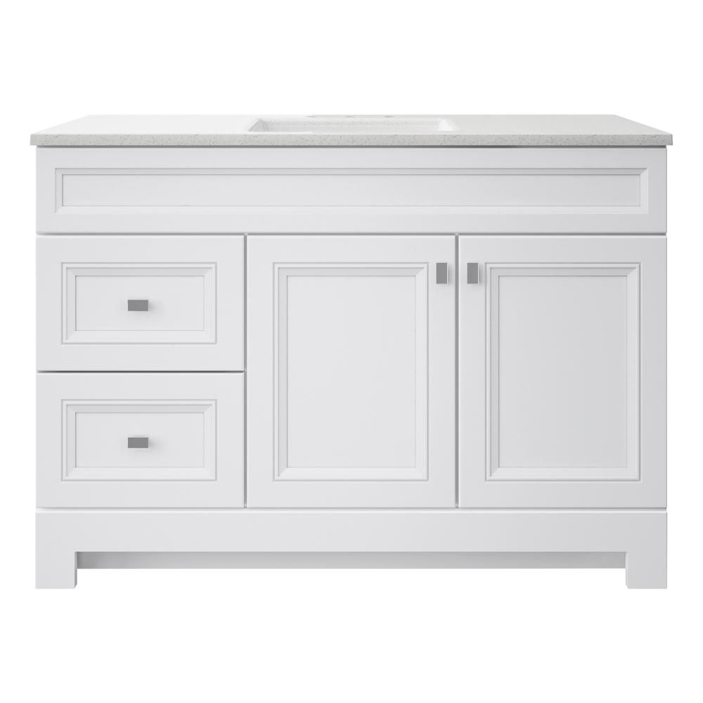 Home Decorators Collection Sedgewood 48 1 2 In Configurable Bath Vanity In White With Solid Surface Top In Arctic With White Sink Pplnkwht48d The Home Depot In 2021 White Sink Bath Vanities Home Decorators Collection