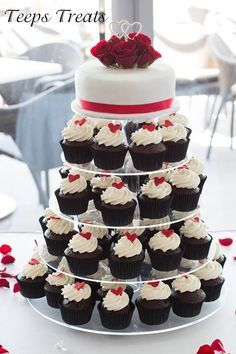 Red Black And White Cake Cupcake Tower Wedding