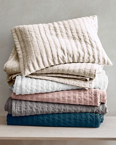 Amazing Eileen Fisher Rippled Organic Cotton Coverlet And Shams
