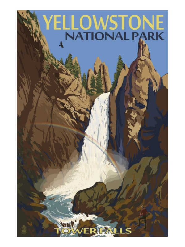 Tower Falls Yellowstone National Park National Park Posters Park Art Vintage Travel Posters