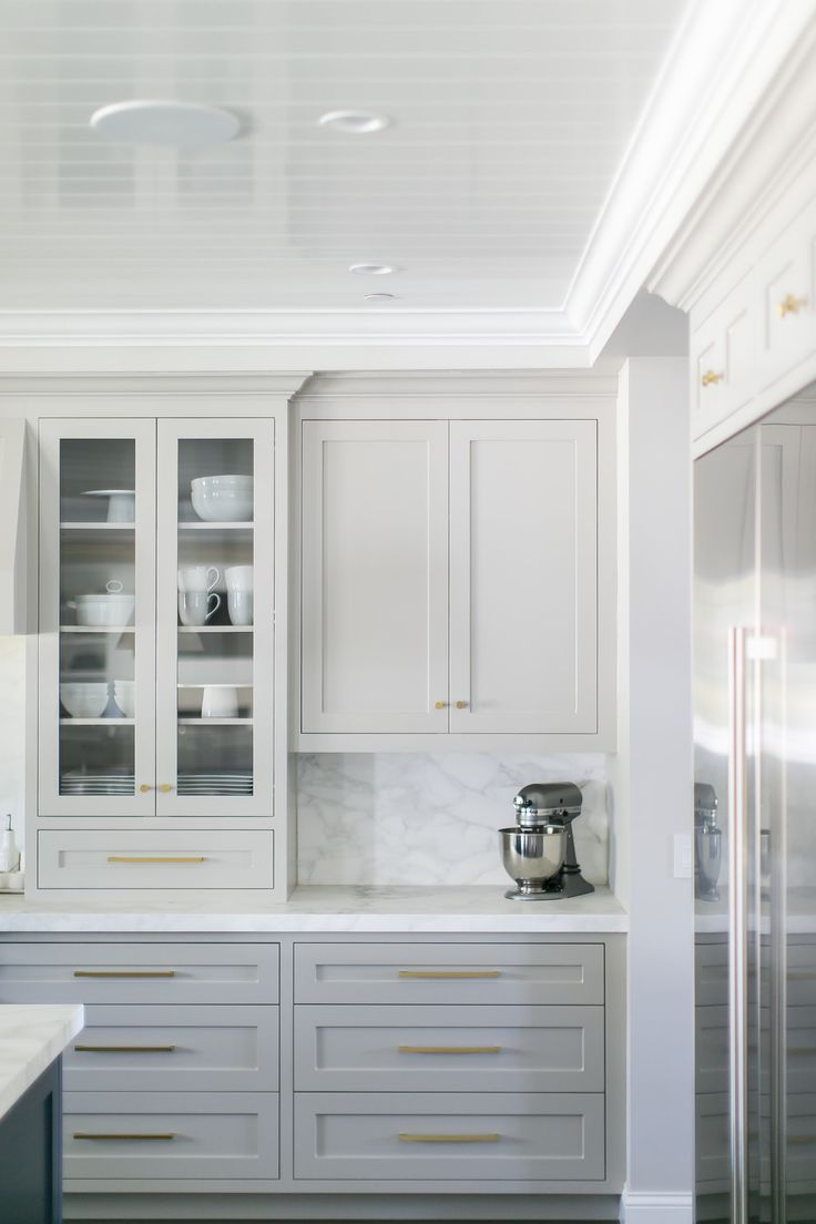 Best White And Grey Kitchen Cabinets With Brass Hardware Home 640 x 480