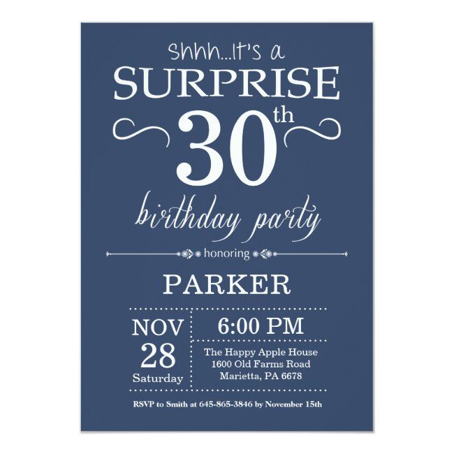 Surprise 30th Birthday Invitation Blue