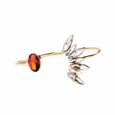 Open Flower Bangle Bracelet Gold