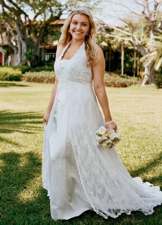 Halter top wedding dresses plus size  Image result for davidus bridal lace top bridesmaid dresses