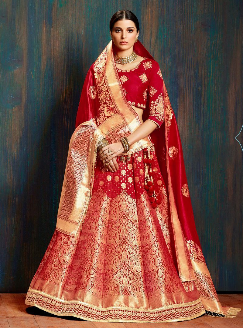 8a275bde7a Red pure banarasi silk Indian wedding lehenga choli 62005 in 2019 ...