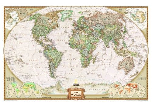 Weltkarte poster von national geographic auch als magnetwand oder world map idea world political map executive style stretched canvas print gumiabroncs Choice Image