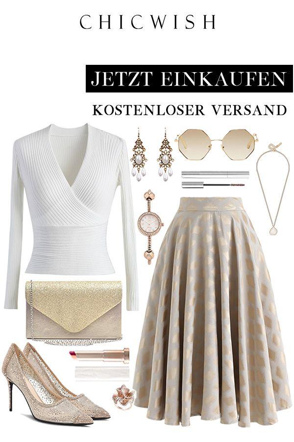 Photo of Diamond-printed midi skirt in gold