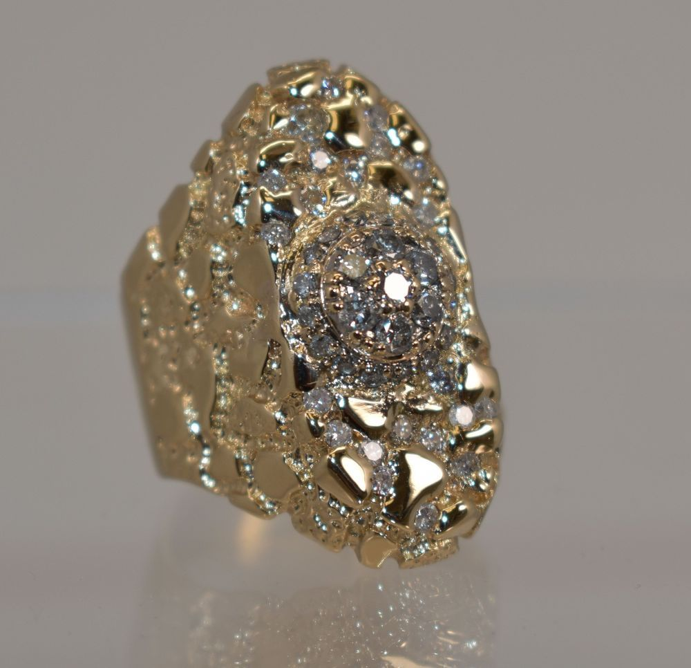 10k Yellow Gold 1 39 Ct Tdw White Diamonds Huge Nugget Men S Ring Size 13 22 8 G Mens Ring Sizes Diamond White Rings For Men