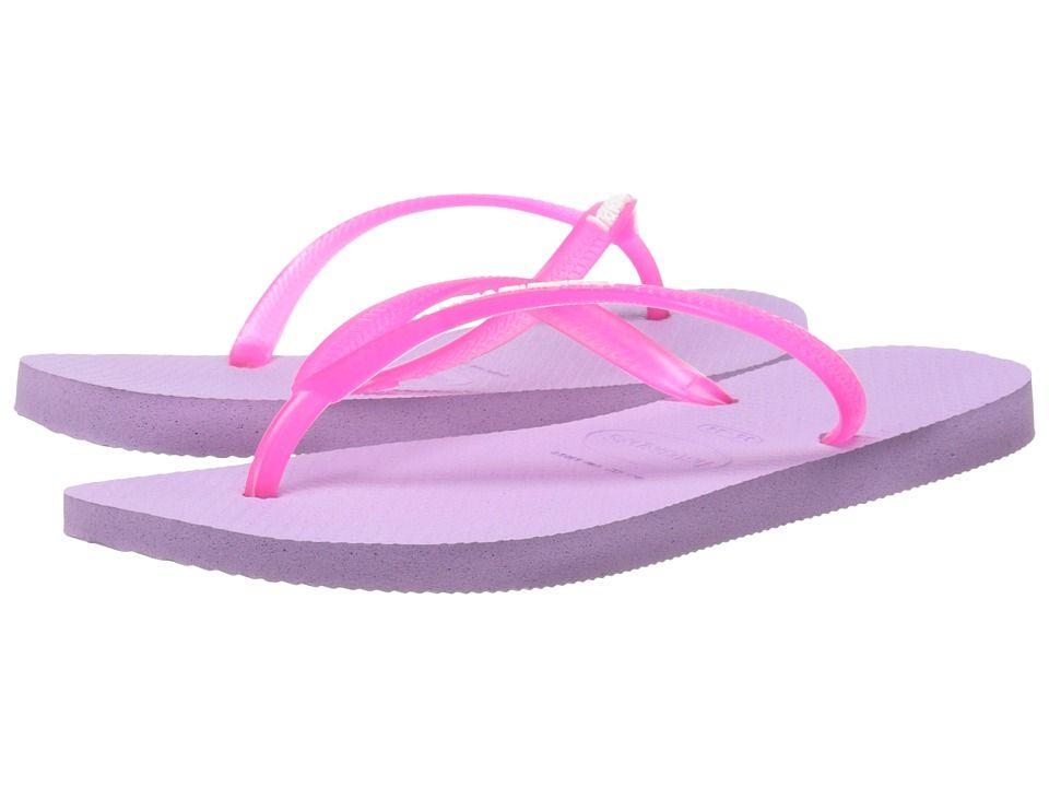 HAVAIANAS HAVAIANAS - SLIM LOGO POP-UP FLIP FLOPS (SOFT LILAC) WOMEN'S  SANDALS