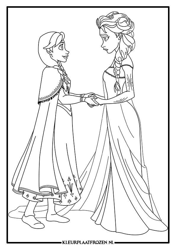Kleurplaat Van Elsa En Anna Uit Frozen