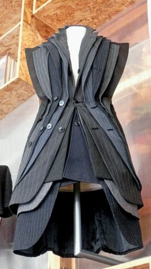 """Lapel dress"" by Junky Styling features recycled men's suit jackets."
