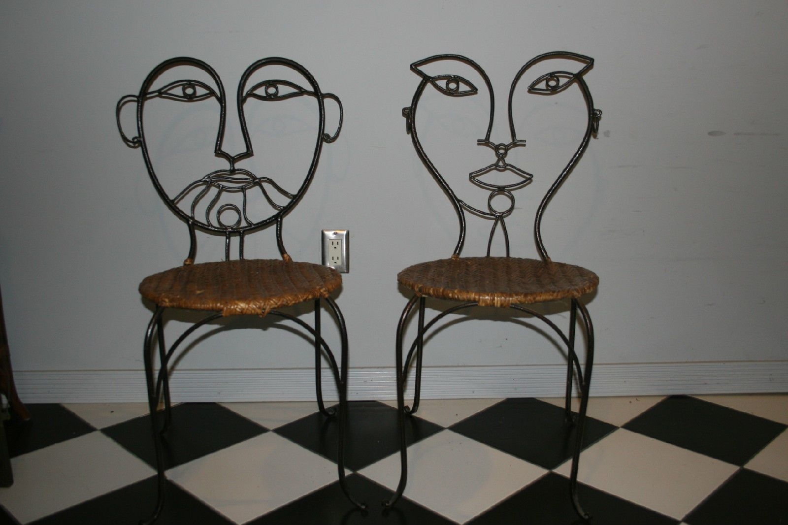 Mid Century Modern Wrought Iron Wicker Rattan Picasso Face