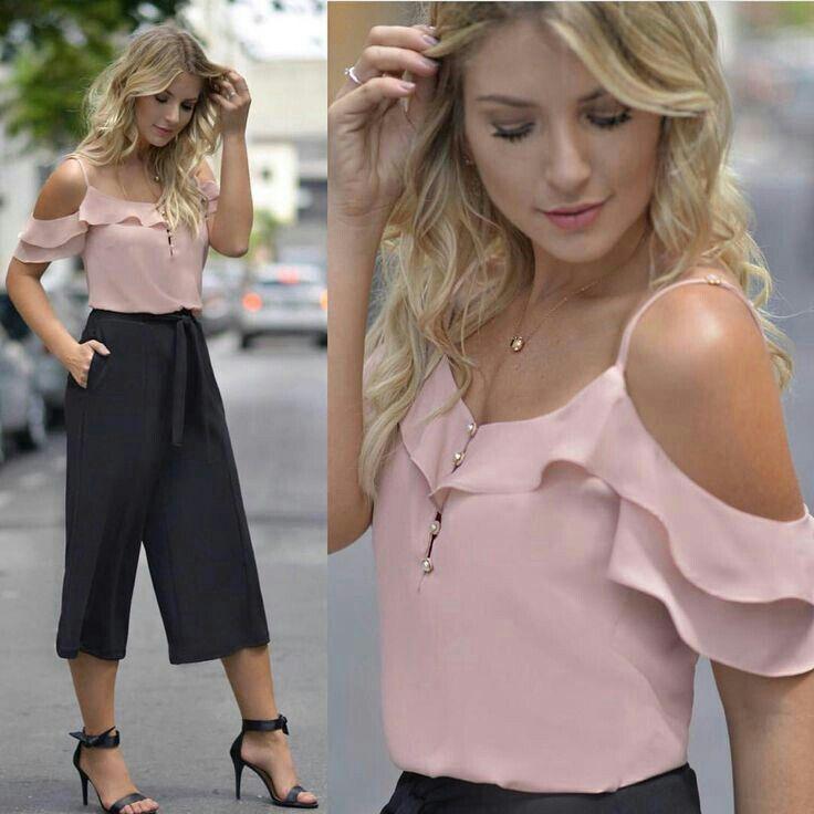 Blusa crepe   Blusas juveniles moda, Blusas mujer