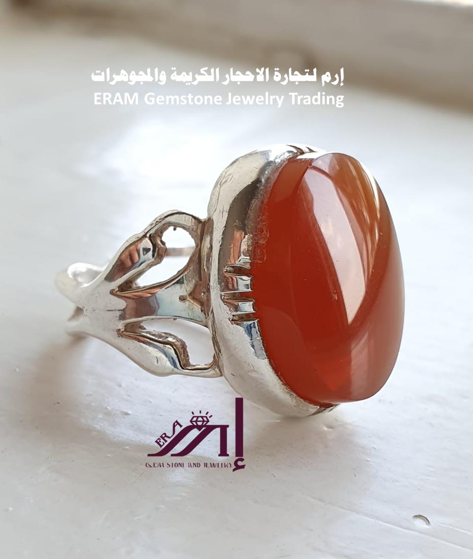 خاتم عقيق يمني احمر رماني مميز طبيعي100 Agate للعرض Gemstones Gemstone Rings Rings