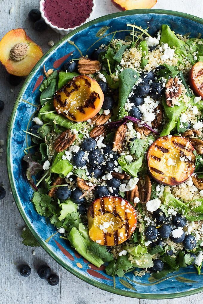 [#AD] Blueberry Peach Quinoa Salad is summer in a bowl and perfect to feed a crowd at your next BBQ