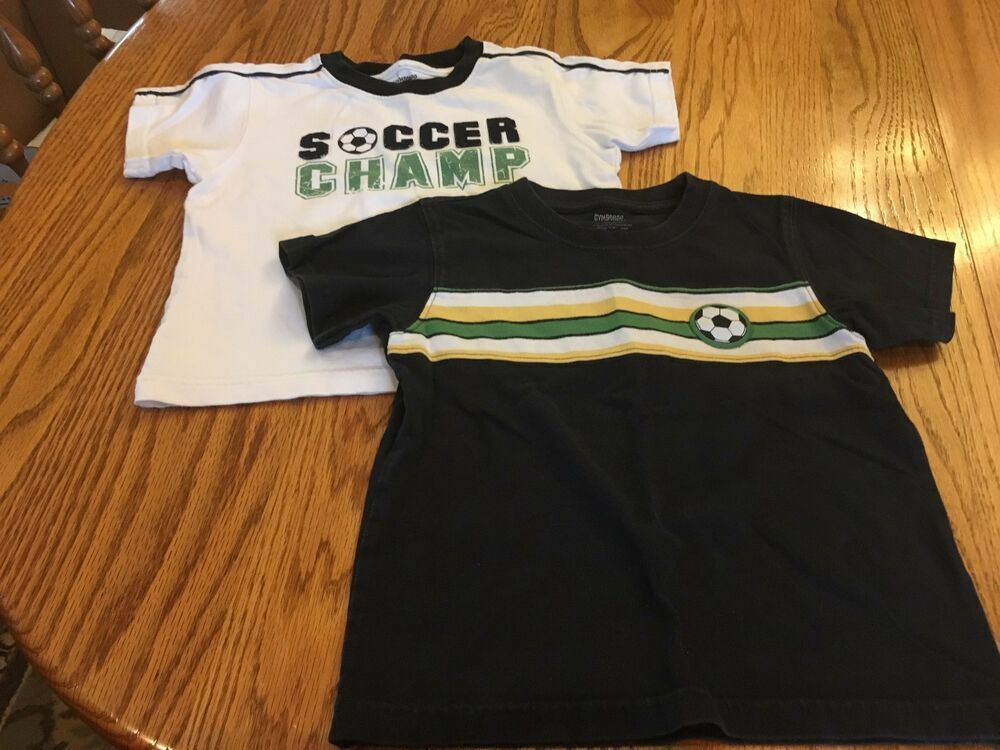 d6ad83a8d Gymboree Boys Size 3T Lot of 2 Soccer Camp T-Shirts White Blue Green Yellow
