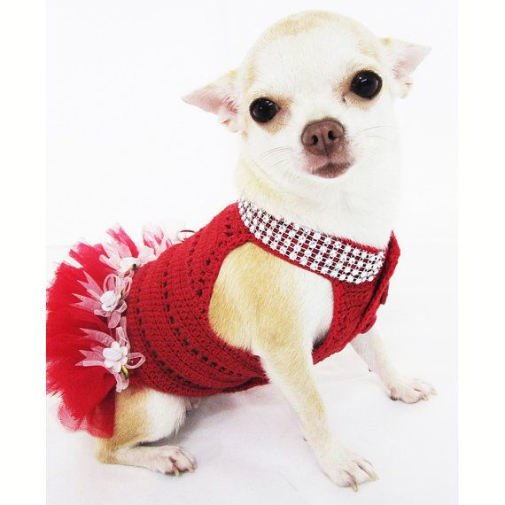 Dog tutu dresses christmas sexy hand crochet teacup - Dog clothes for chihuahuas ...
