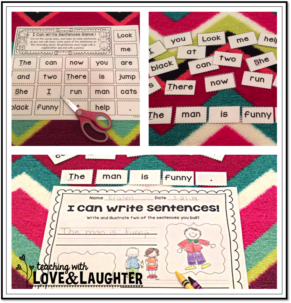 Teaching With Love And Laughter I Can Write Sentences