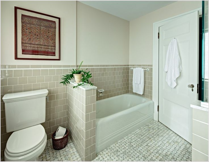Bathtub With Tile And Glass Half Wall Google Search