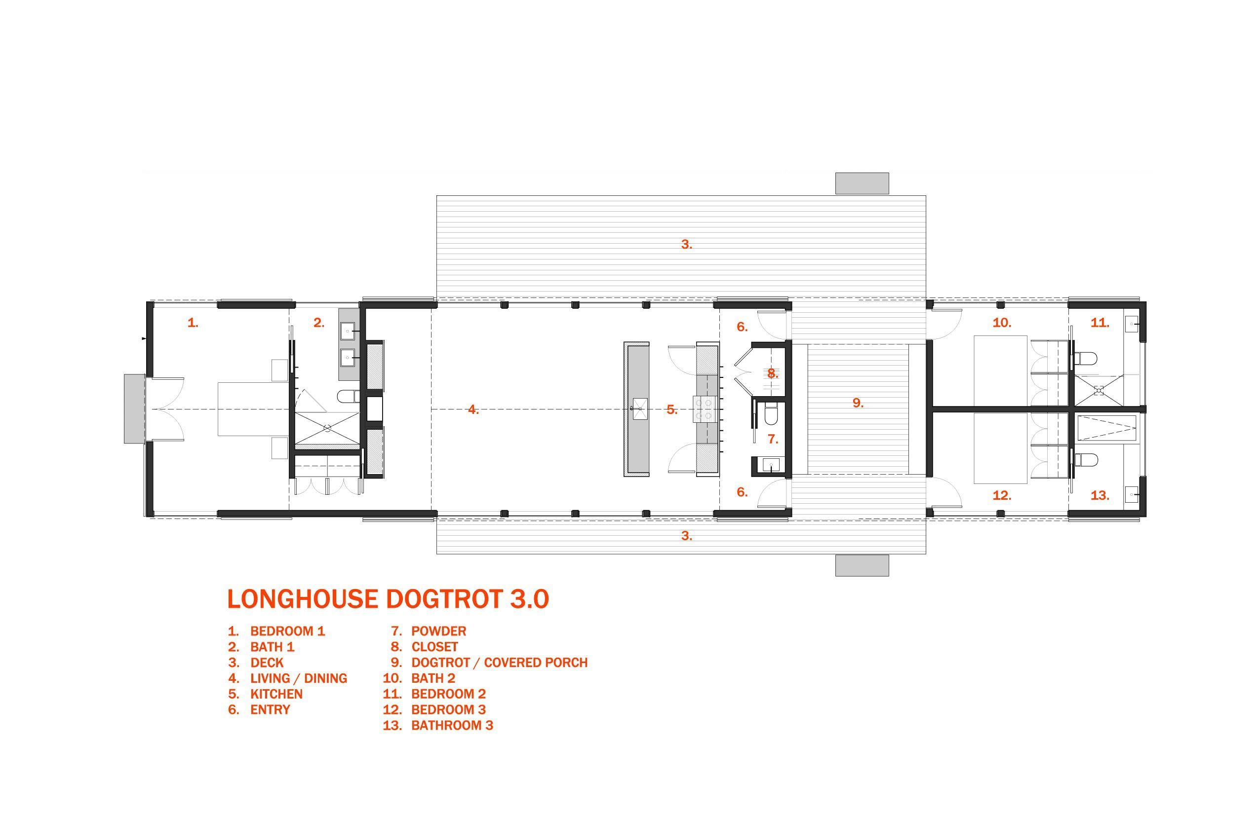 Longhouse Dogtrot 3 0 Schematic 30x40 Design Workshop House Plans House Floor Plans Barn House Plans