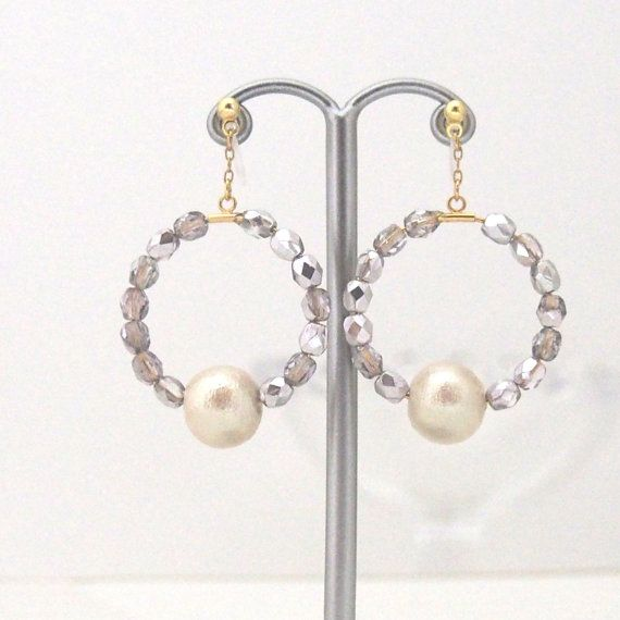 Cly Light Beige Cotton Pearl With Purple Beads Hoop Invisible Clip On Earrings Wedding