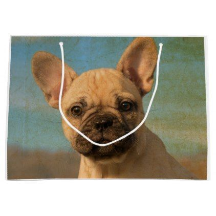 Cute French Bulldog Puppy - Funny Dog Head Photo . Large Gift Bag | Zazzle.com
