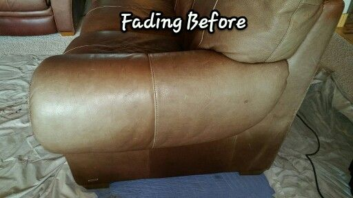 Delightful Repairing UV Damaged/Faded Leather Before · Leather Furniture