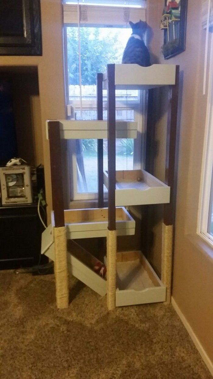 Build Your Pampered Feline A Cat Tree With Old Drawers Diy Cat