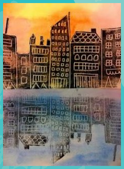 Watercolor background draw city design on printing foam use pencil to press fi
