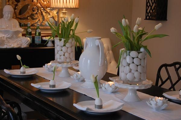 Simple White Easter Table