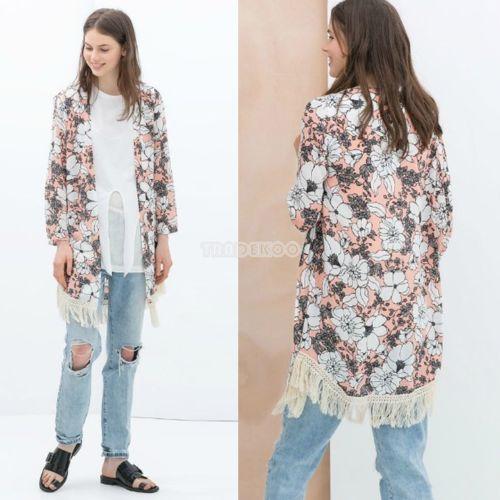 Retro Femme Mousseline Boho Floral Kimono Cardigan Manteau Veste ...