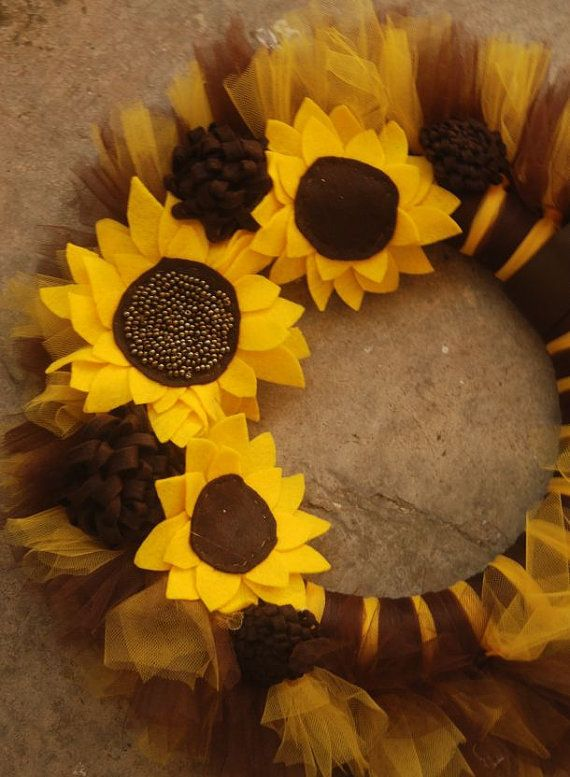 Sunflower Hand beaded TuTu Tulle Wreath Made by pickypickypeacock, $60.00