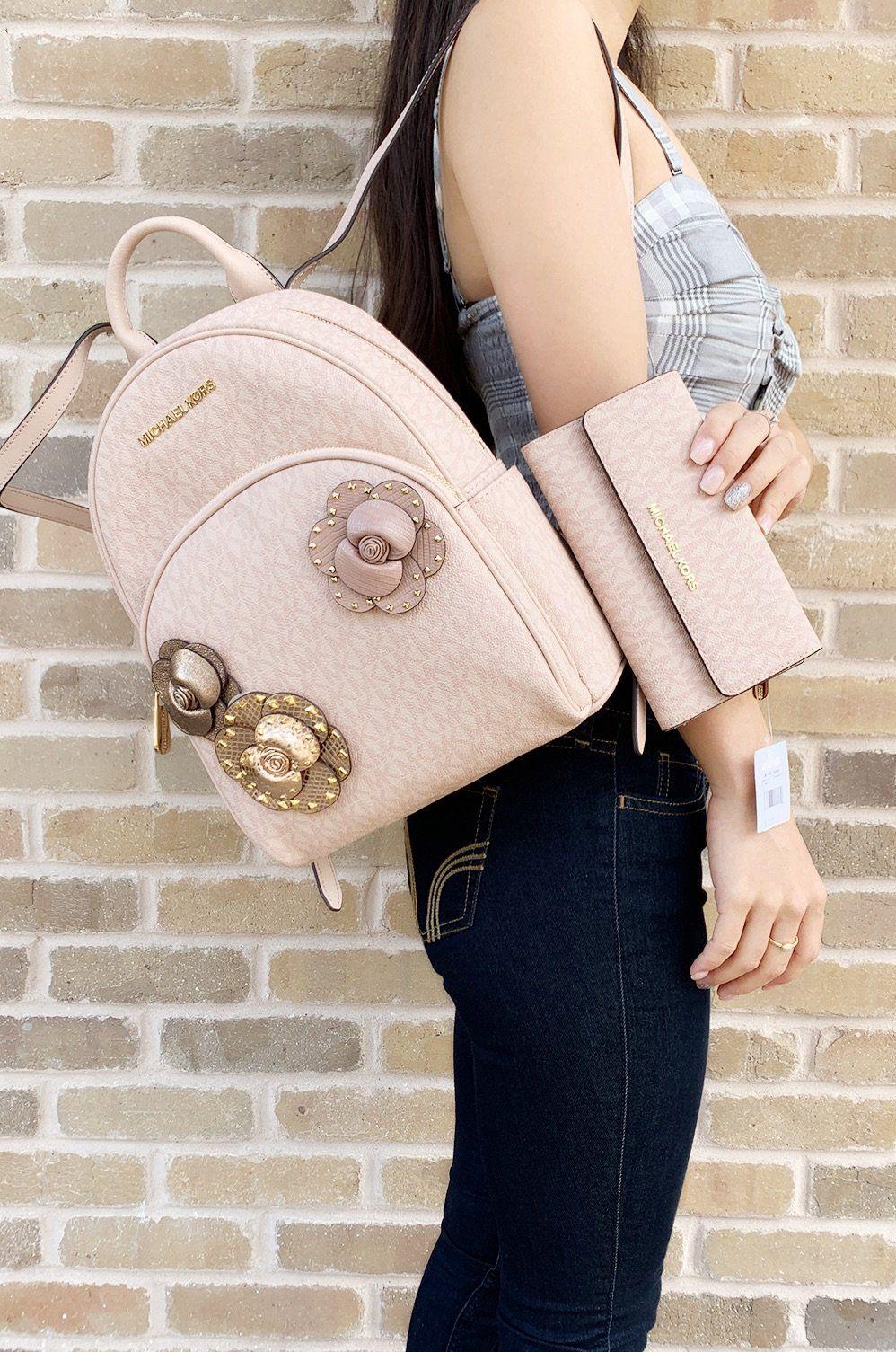 7c63bf4c8004 Michael Kors Abbey Medium Backpack Floral Pink MK Trifold Wallet SET   ebayseller  top  ebaycommunity  posh  amazondeals  poshfashion  posher   topratedseller ...