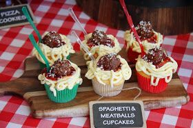 Italy/Pizza/Pasta/Italian Chef  Spaghetti & Meatball Cupcakes. 1st seen this a few years ago on Hello Cupcake http://leoniescakesandparties.blogspot.com/2013/11/italian-party.html?m=1