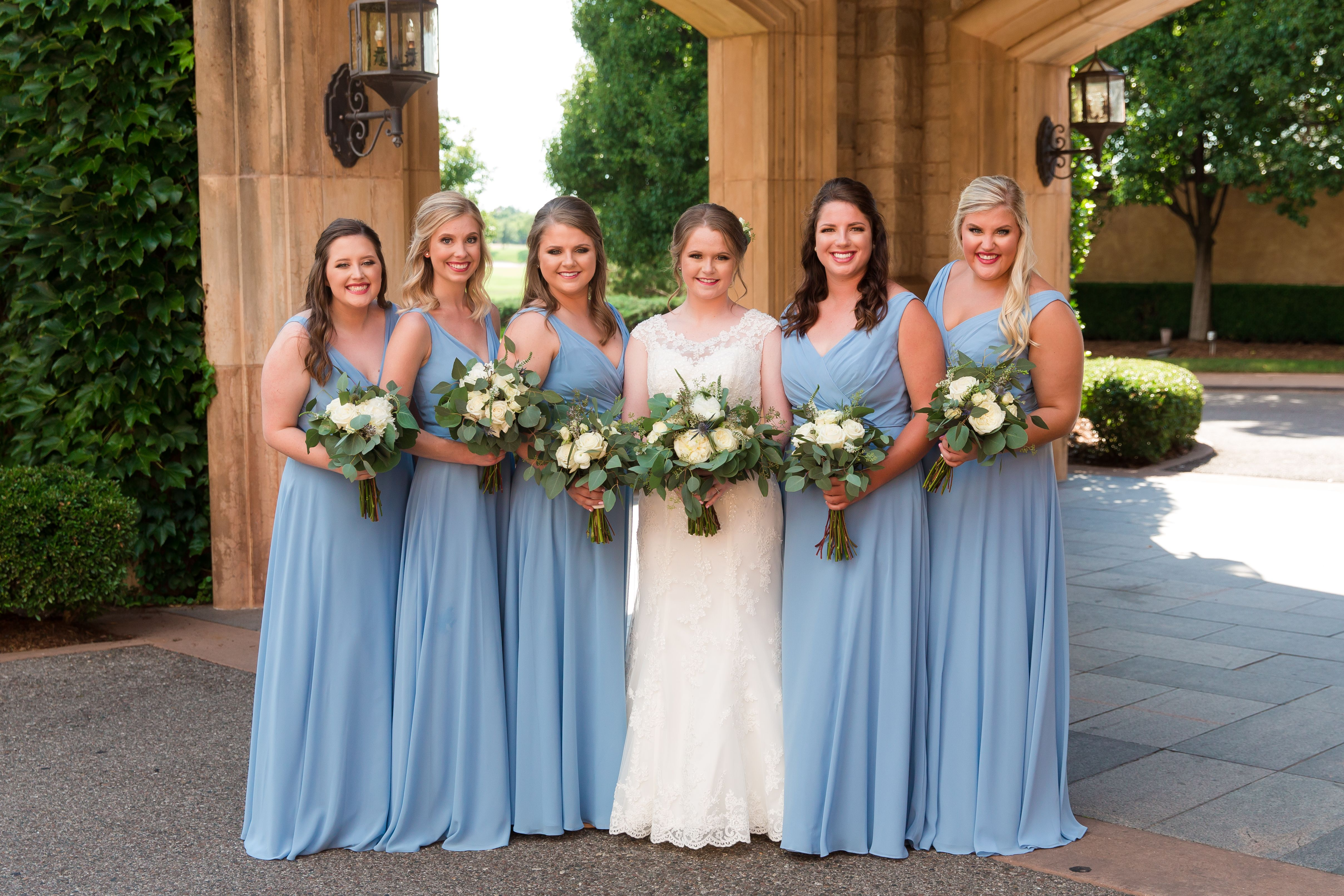 Country dresses for wedding party  Gaillardia Country Club  Wedding  OKC  Blue Bridesmaid Dresses