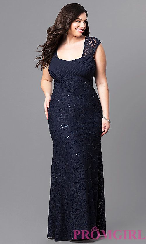 b48839c897a Navy Blue Long Lace Empire-Waist Prom Dress in 2019